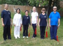 Tai Chi sword class students with Master Leung